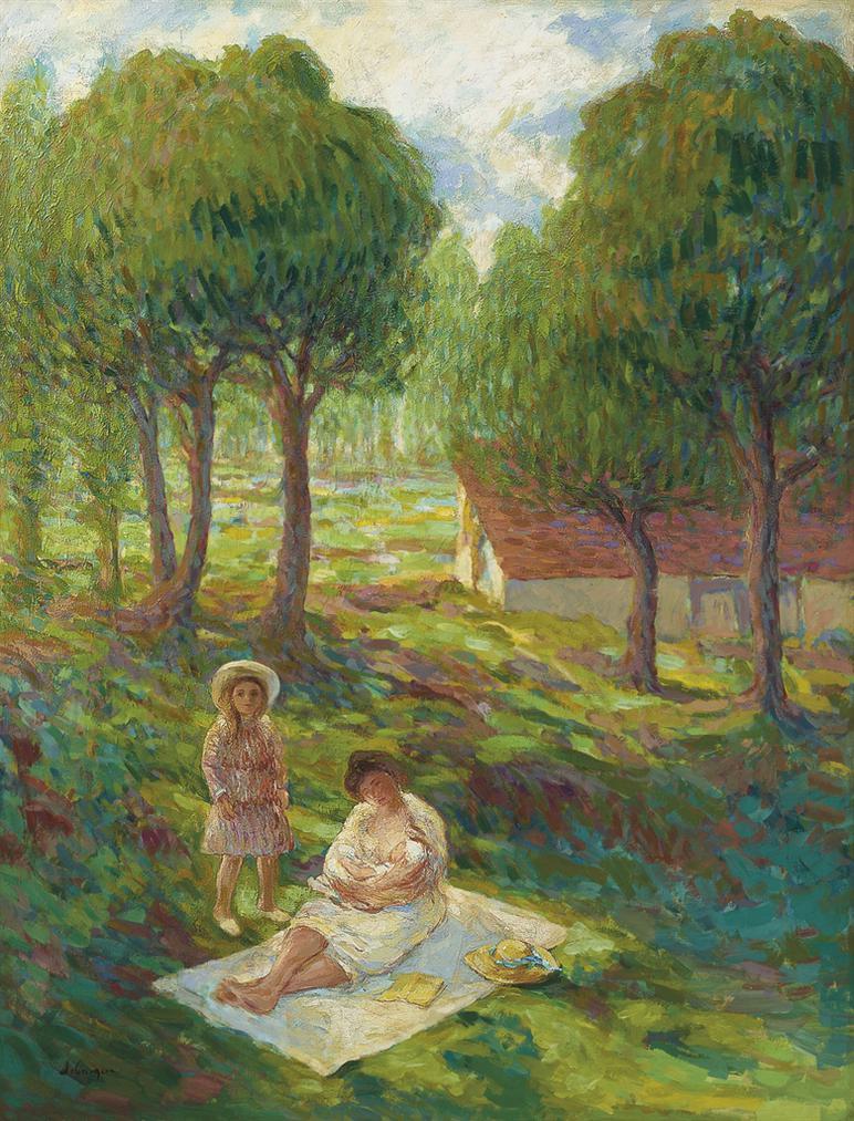 Henri Lebasque-Mere Et Enfants Dans Un Paysage-1901