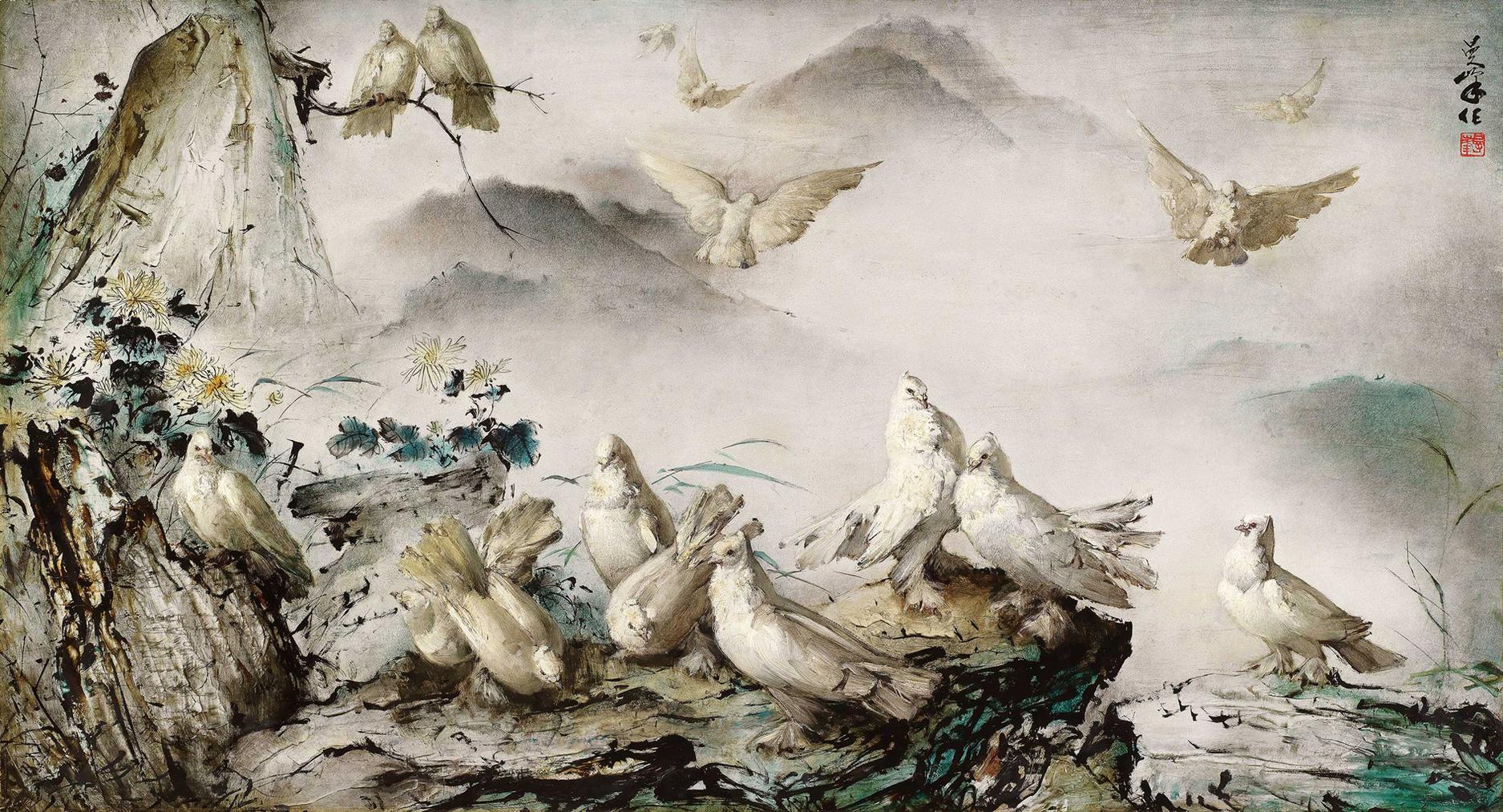 Lee Man Fong-Peace Doves-