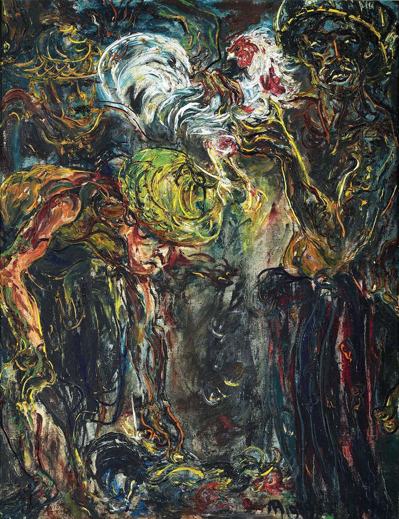 Affandi-Men With Fighting Roosters-1959
