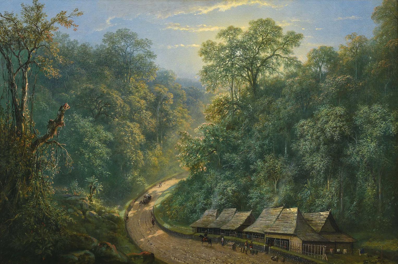 Raden Saleh Sjarif Boestaman-Mail Station At The Bottom Of Mount Megamendung-1871
