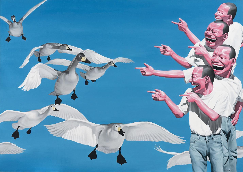 Yue Minjun-Big Swans-2003