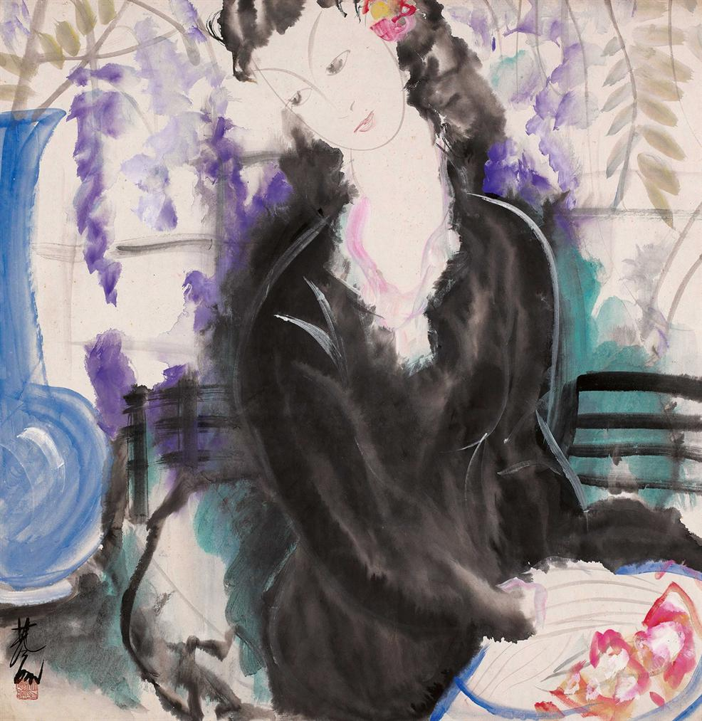 Lin Fengmian-Seated Lady With Wisteria-1947
