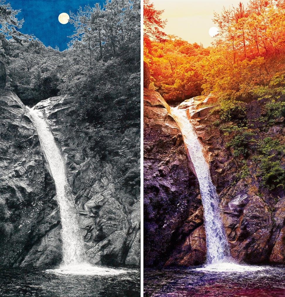 Choi Yeong-Geol-The Waterfall In The Moonlight; & The Waterfall In The Sunset-2017