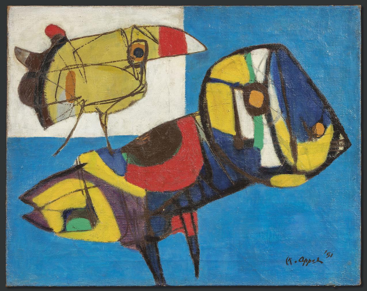 Karel Appel-La Fleur Et Les Oiseaux (The Flower And The Birds)-1951