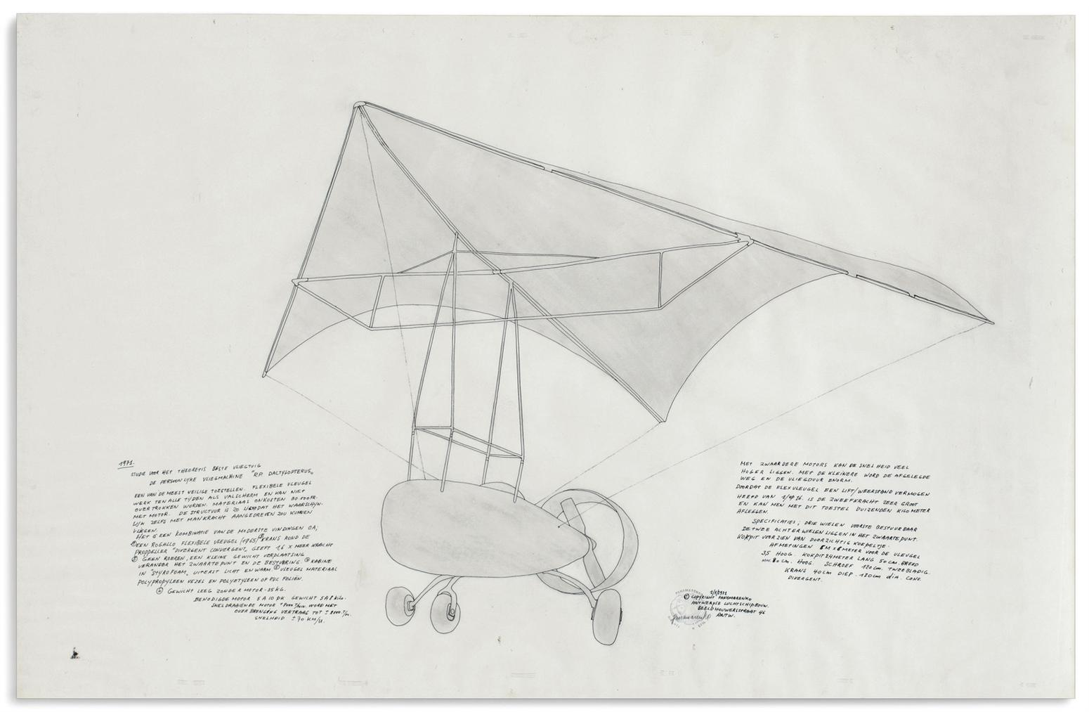 Panamarenko-Studie Voor Het Theoretis Beste Vliegtuig (Study For The Best Theoretical Airplane)-1971