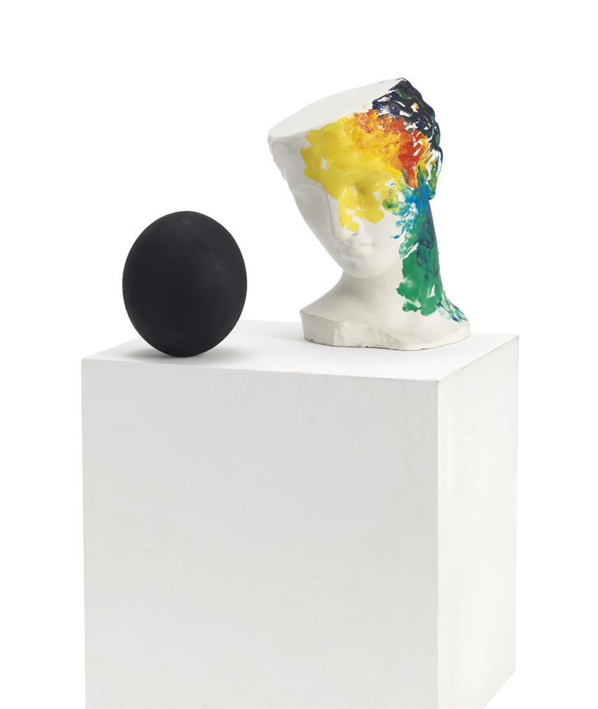 Claudio Parmiggiani-Figura Con Uovo Nero (Figure With Black Egg)-1985
