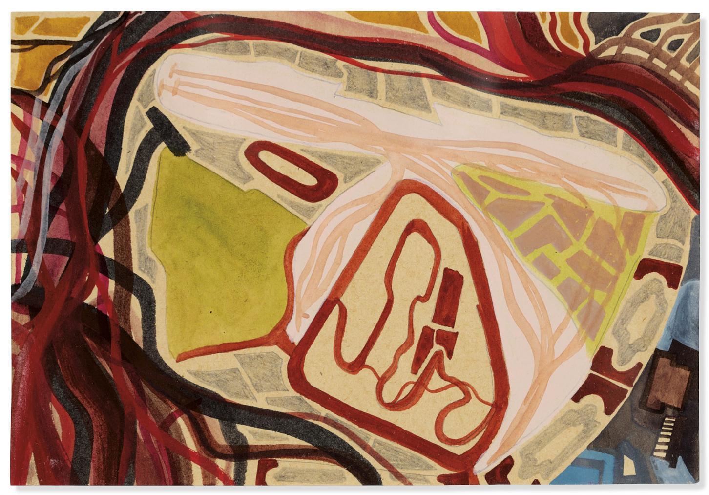 Franz Ackermann-Untitled (Mental Map: Unknown Airport)-1997