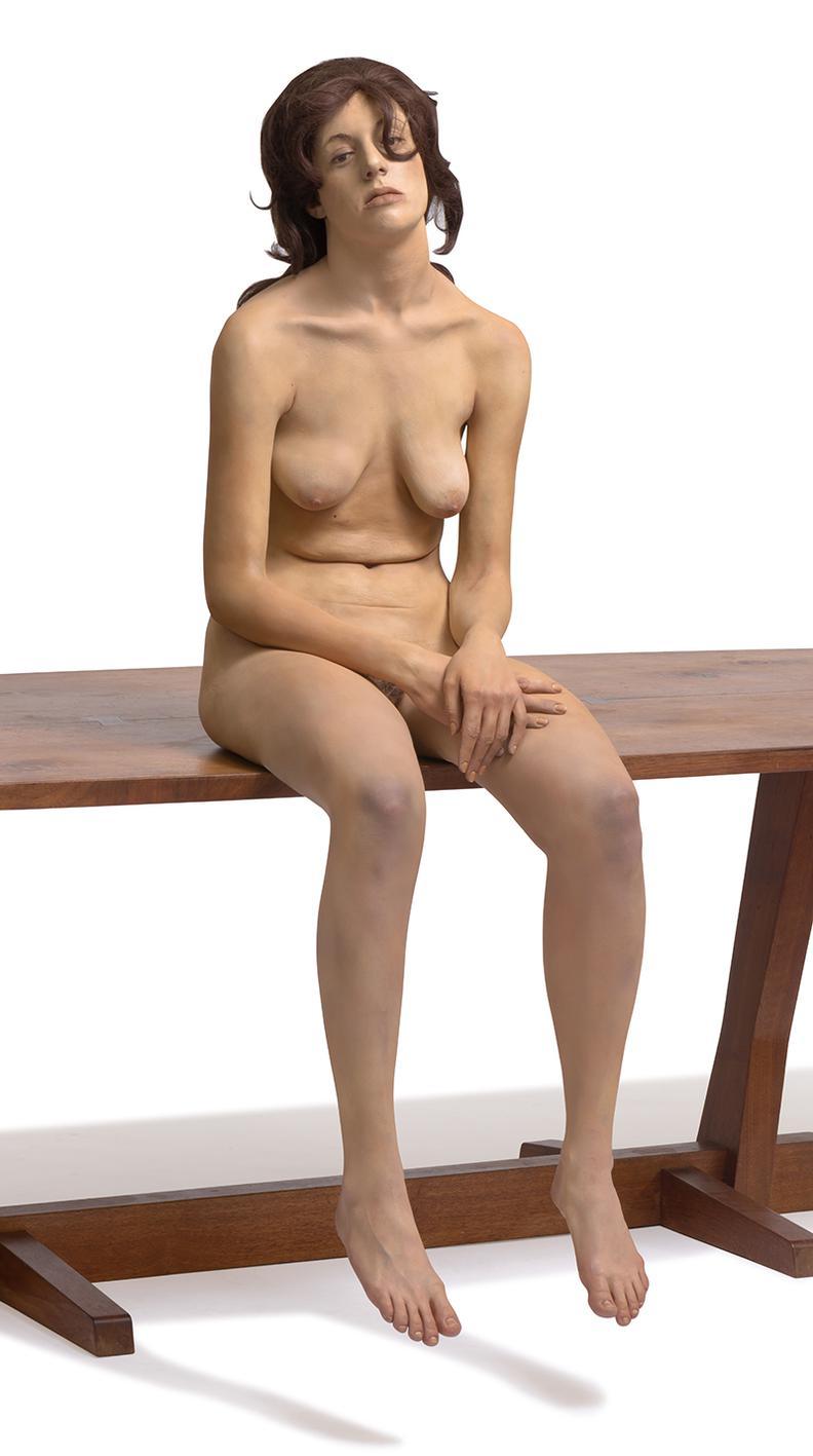 John De Andrea - Brunette Sitting On Table-1973