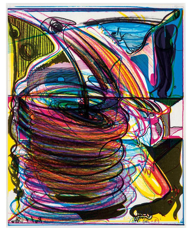 Dieter Roth-Paint Brush Strokes; Blau Und Gello (2)-1977
