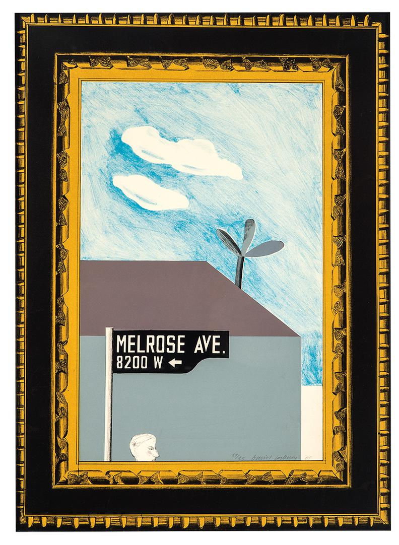 David Hockney-Picture Of Melrose Avenue In An Ornate Gold Frame (From A Hollywood Collection)-1965
