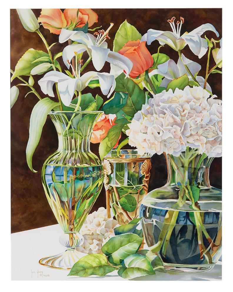 June Young - Three Glass Vases-