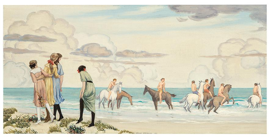 Bryson Burroughs - Girls And Horses On Beach-1912
