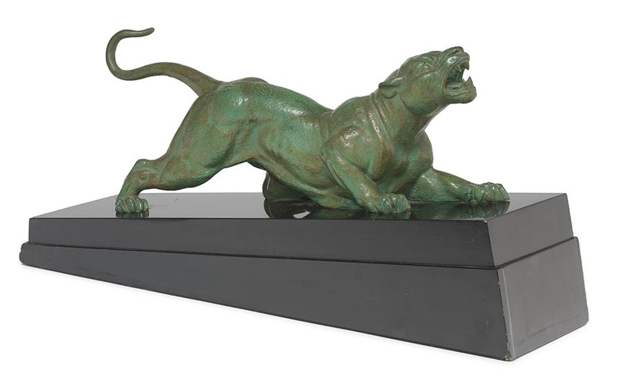 Dimitri Haralamb Chiparus - A Green Patinated Spelter Figure-1930
