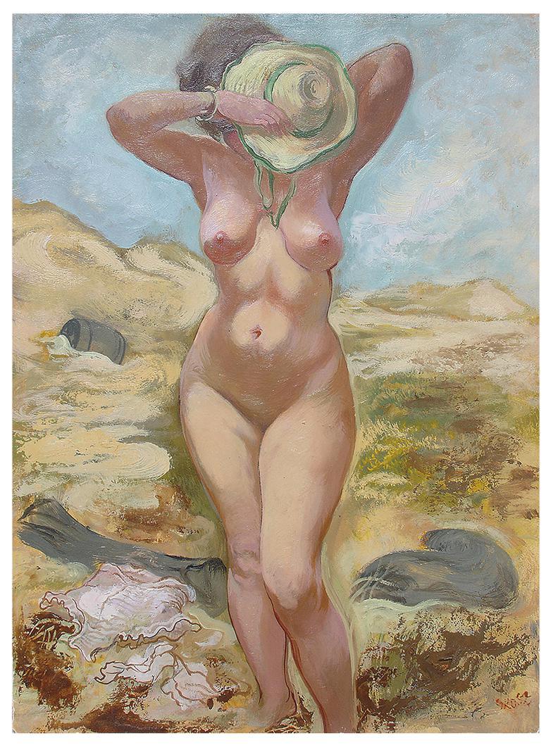 George Grosz-Nude On Beach (The Artists Wife)-1944