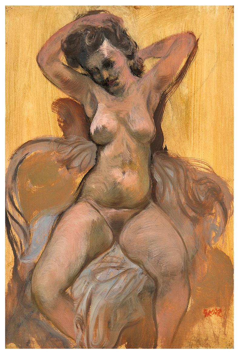 George Grosz-Seated Nude-