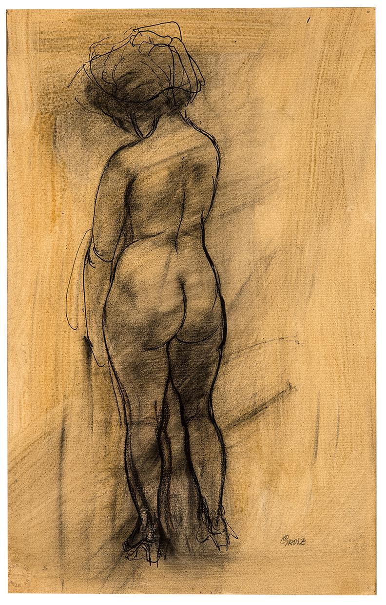 George Grosz-Standing Female Nude Seen From The Rear-