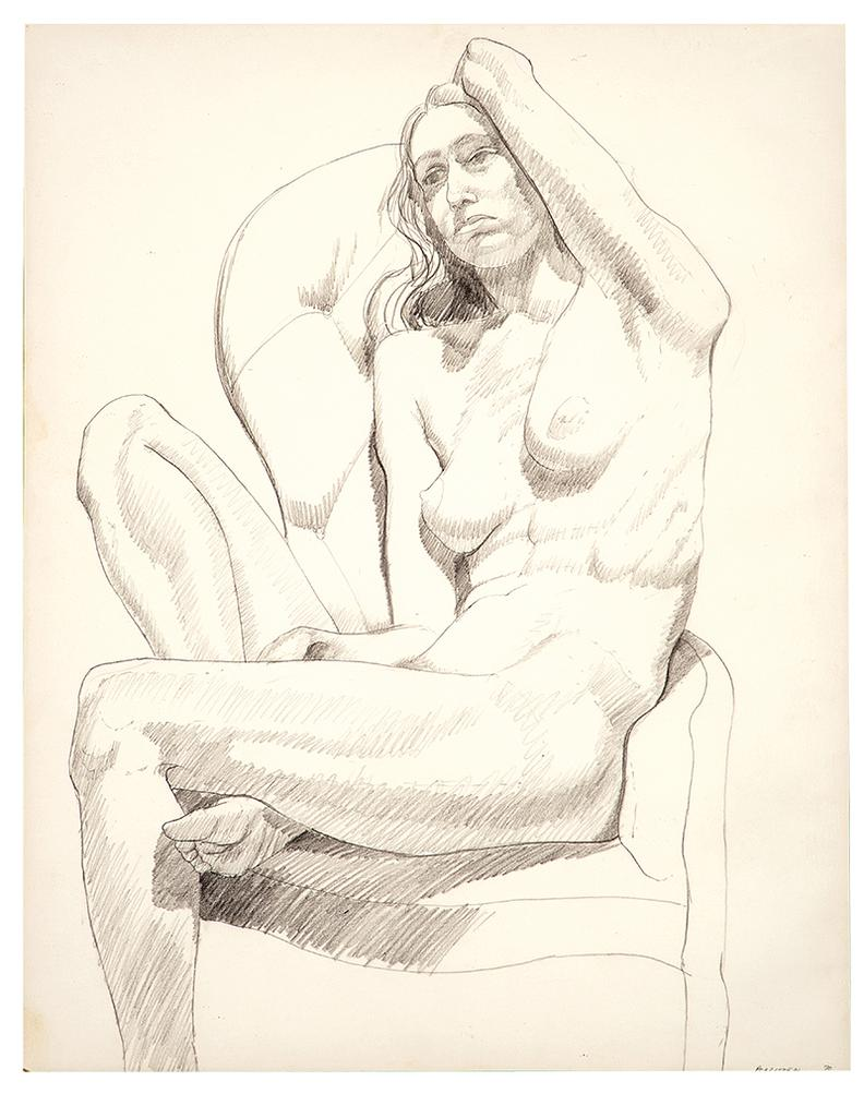 Philip Pearlstein-Seated Nude With Arm Over Head-1970