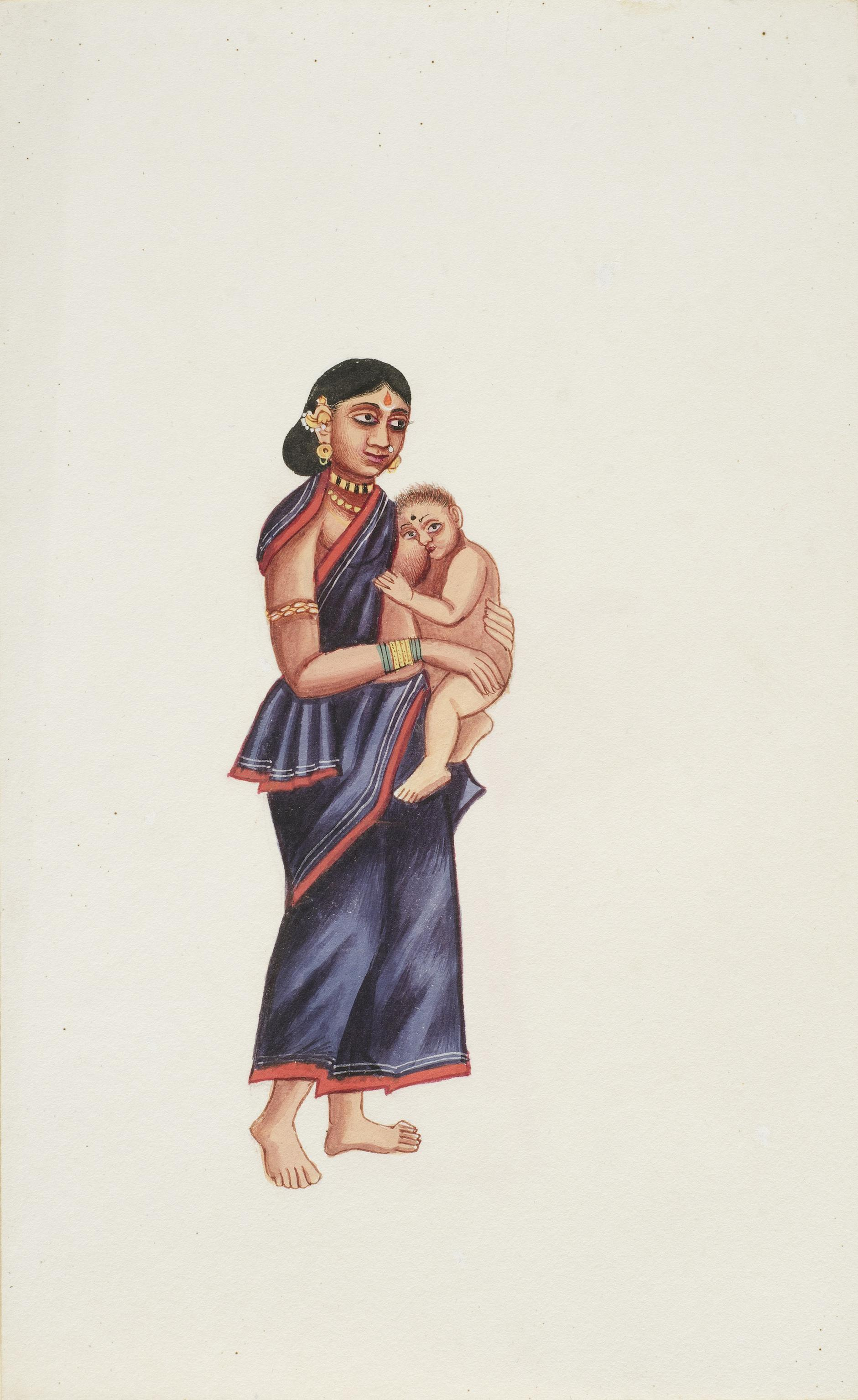 Company Painting - Woman With A Baby-1850