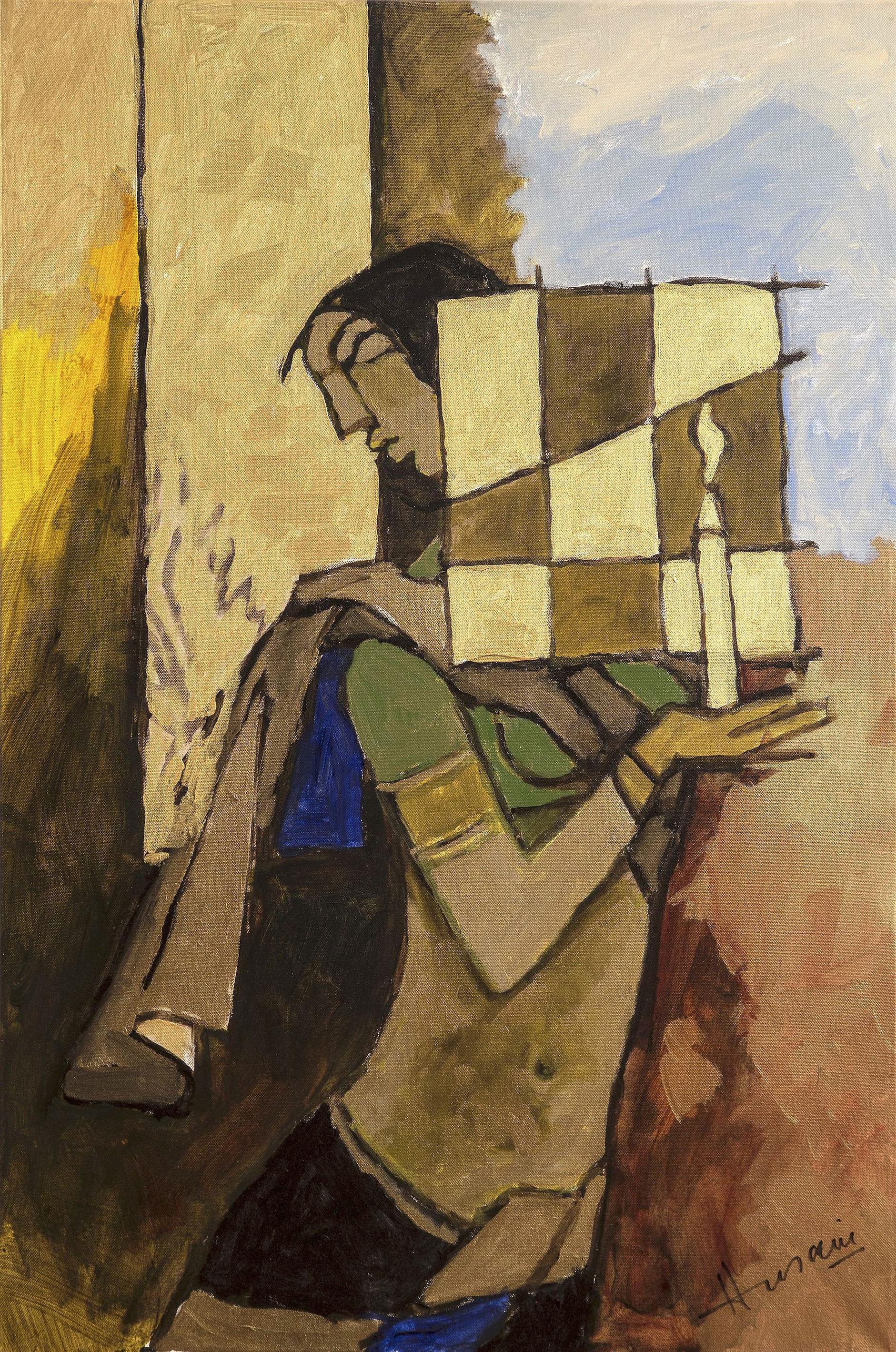 Maqbool Fida Husain-Untitled (Lady With A Candle)-2005