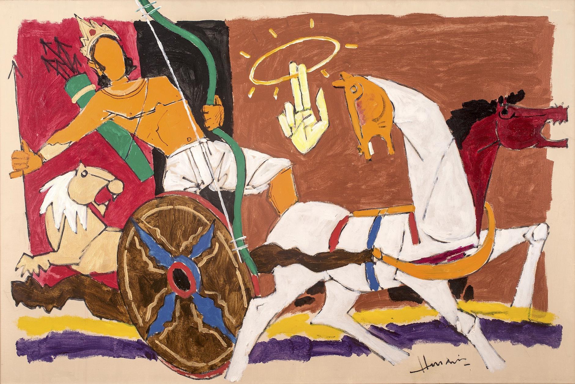 Maqbool Fida Husain-Arjun And Sudarshan Chakra-1980