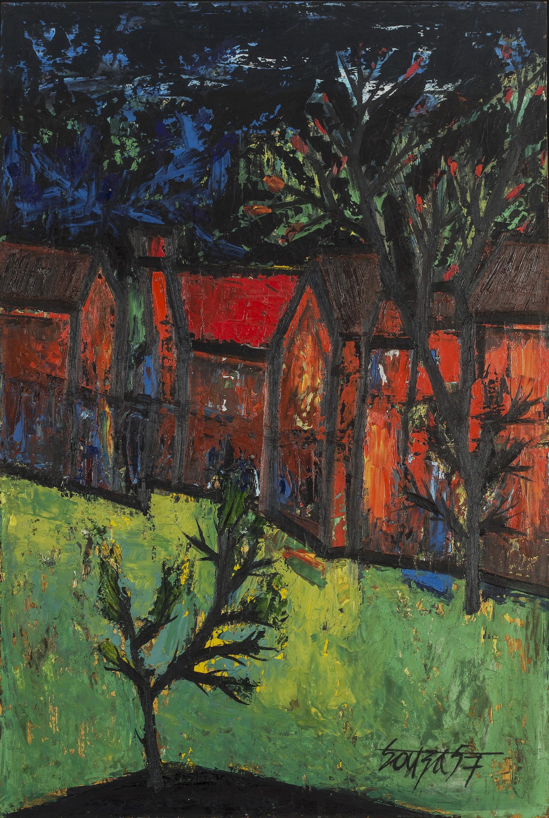 Francis Newton Souza-Red Houses With Front Garden-1957