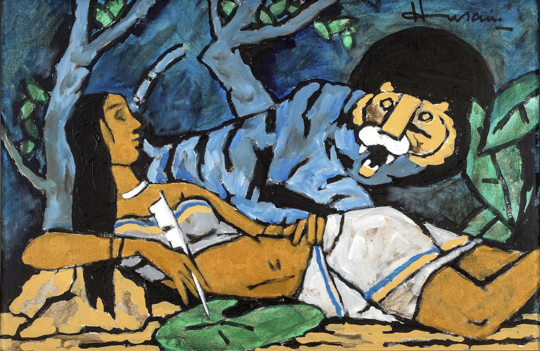 Maqbool Fida Husain-Lady With Blue Tiger-2005
