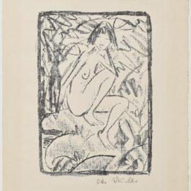 Otto Mueller-Sitzende Vom Blattwerk Umgeben (Helle Fassung) Sitting figure surrounded by foliage (light version)-1923