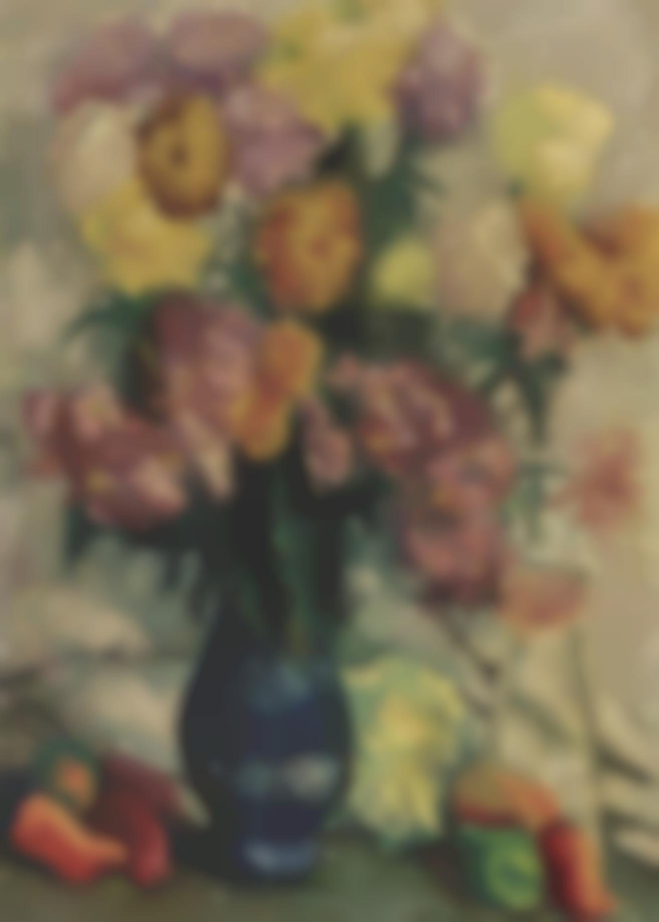 Lukas Suppin - Stillleben Mit Dahlienstrauss In Vase Und Fruchten (Still life with a dahlia bouquet in a vase and fruits)-1947