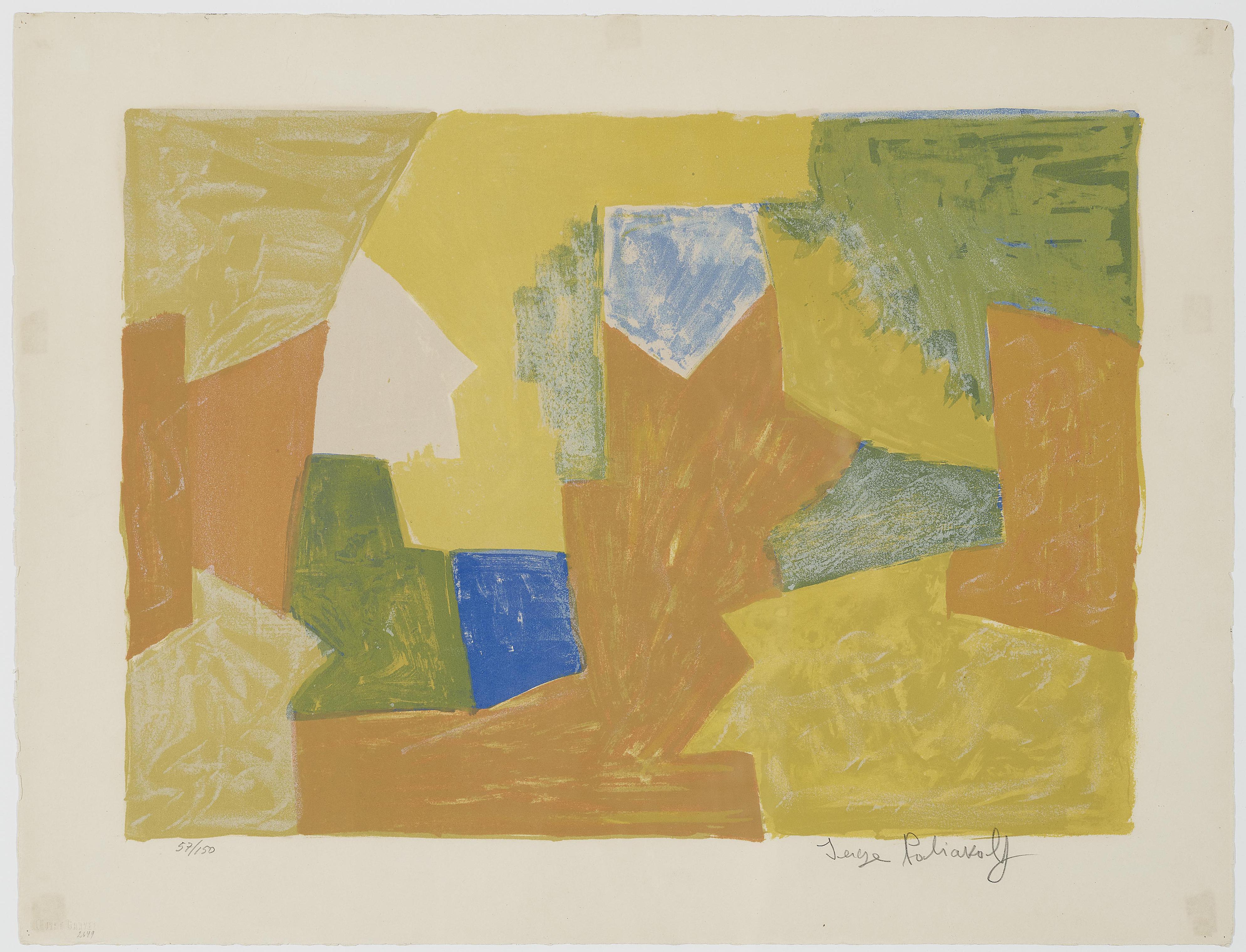 Serge Poliakoff-Composition Jaune, Orange Et Verte-1957