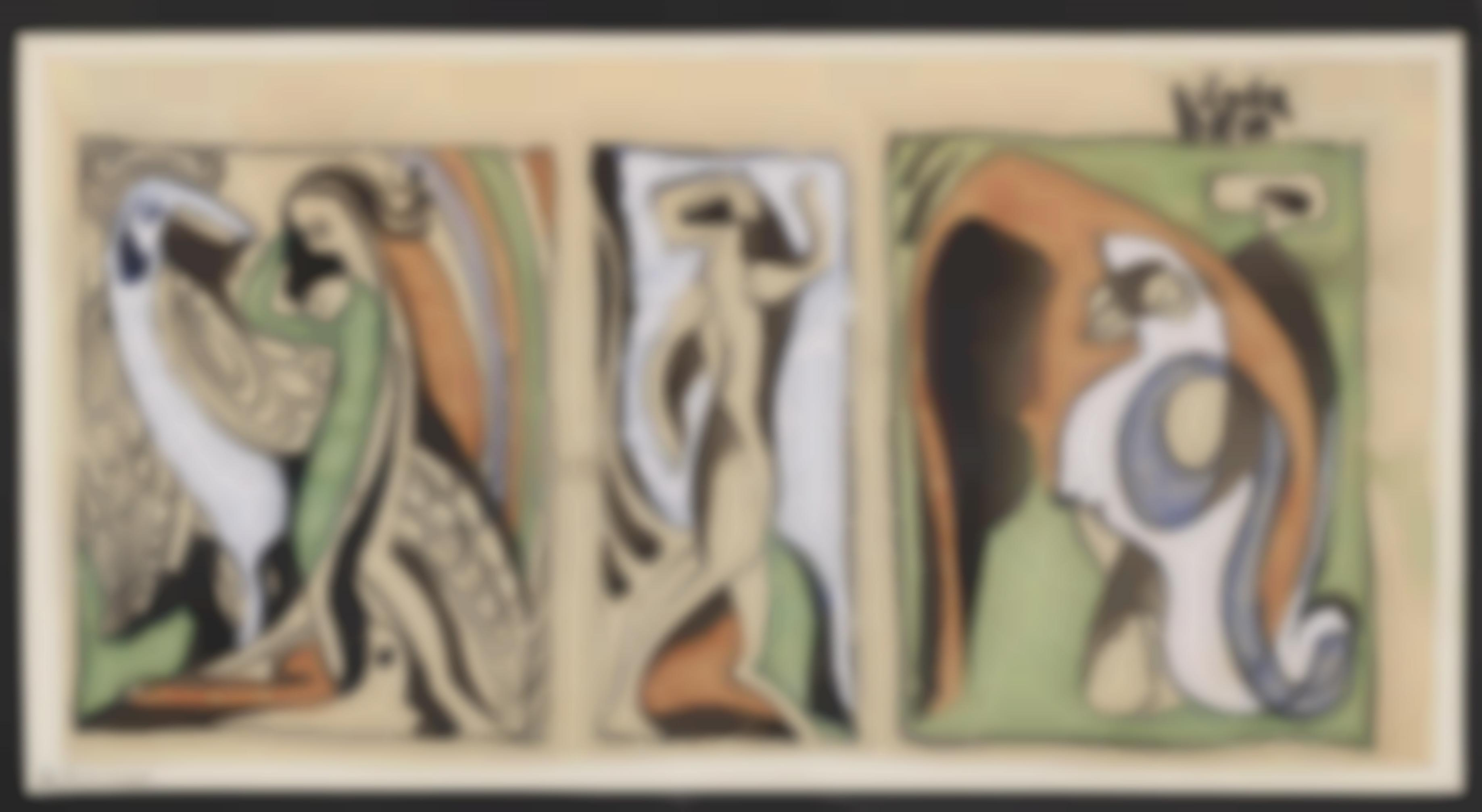Bela Kadar-3 Werke: Figurinen; Abstrakte Komposition; Theaterszene-