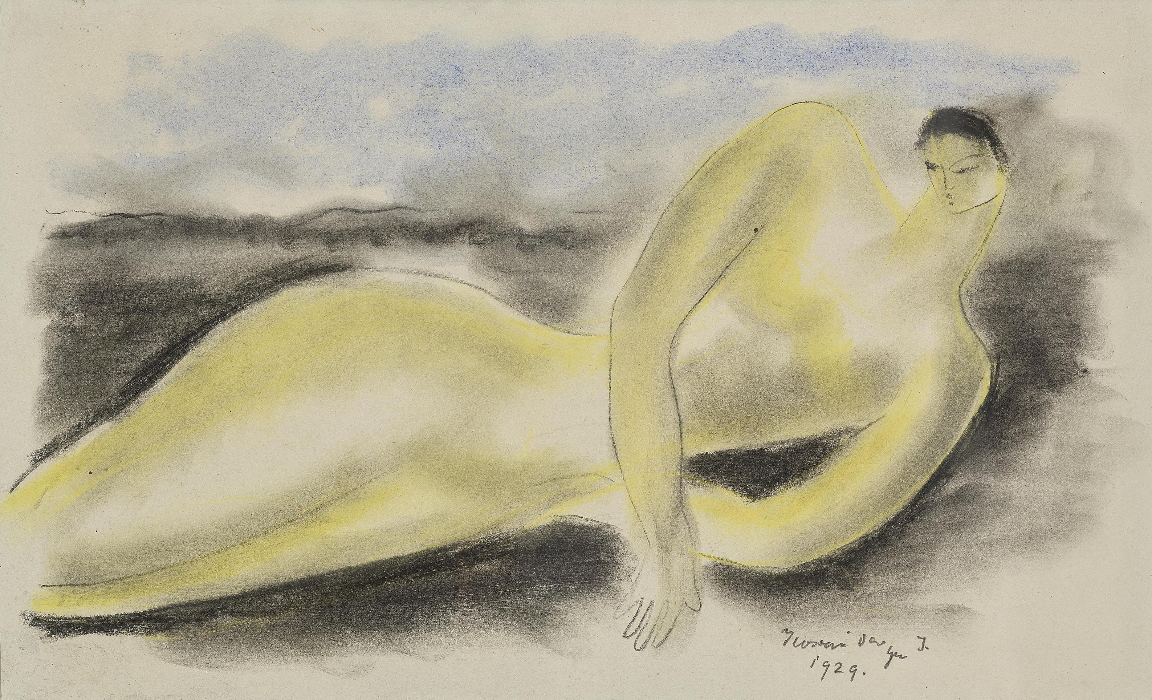 Istvan Ilosvai Varga - Liegender Frauenakt-1929