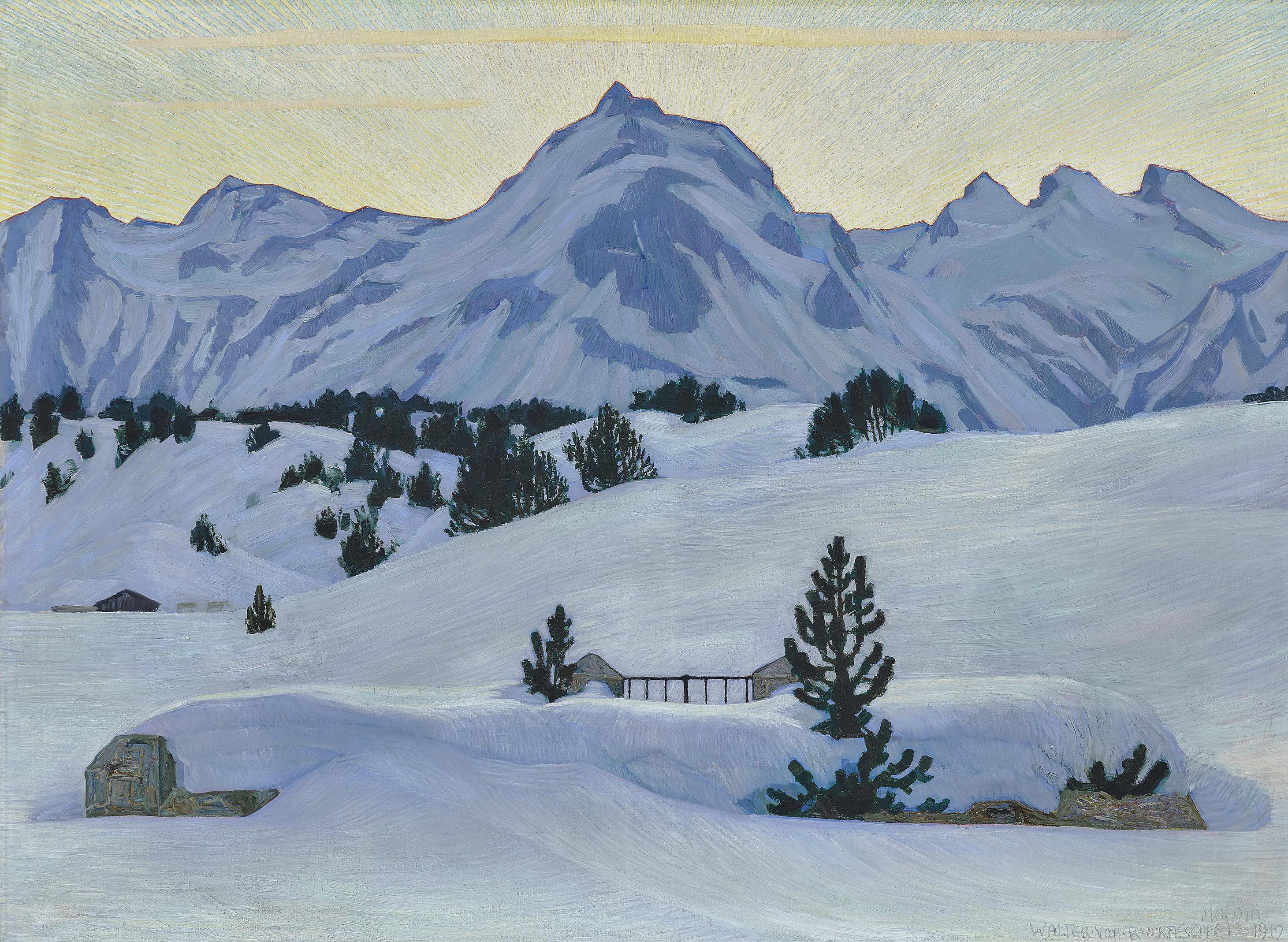 Walter Von Ruckteschell - Winterlandschaft Bei Maloja (Winter landscape near Maloja)-1912