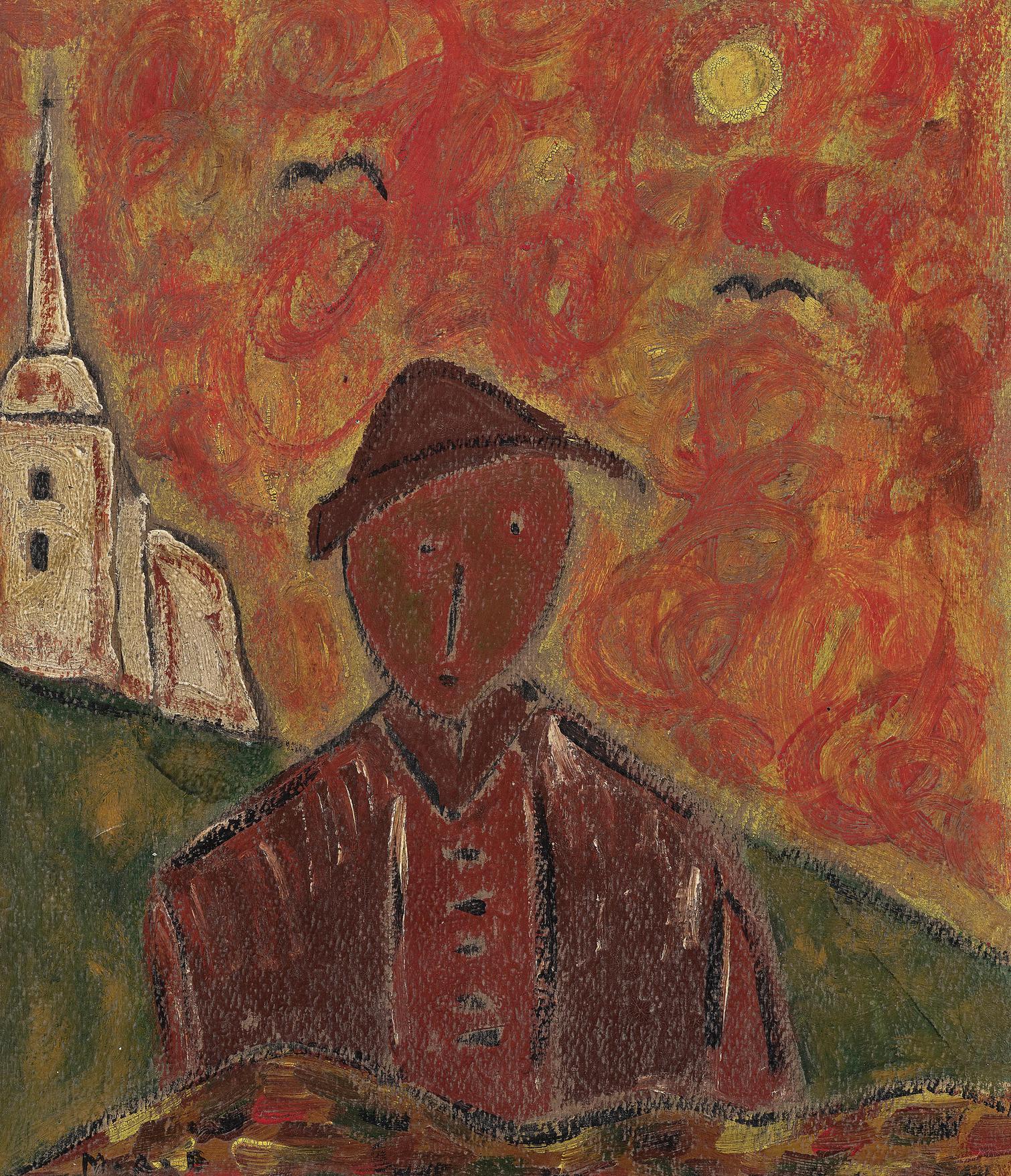 Milos Alexander Bazovsky - Portrat Eines Jungen Bauern Mit Kirche (Portrait of a Young Farmer with Church)-