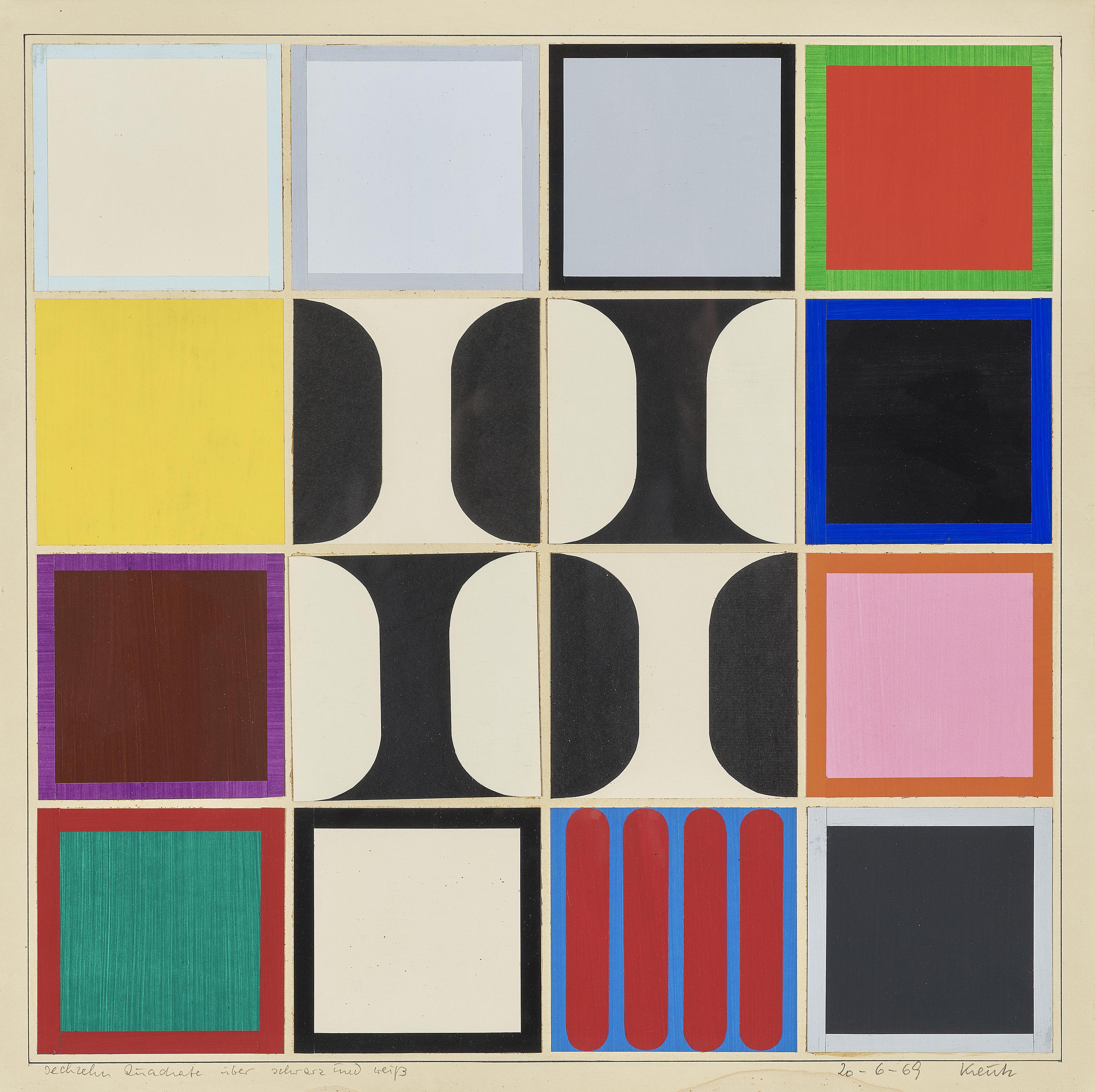 Heinz Kreutz - Sechzen Quadrate Uber Schwarz Und Weiss (Six Squares Over Black and White)-1969