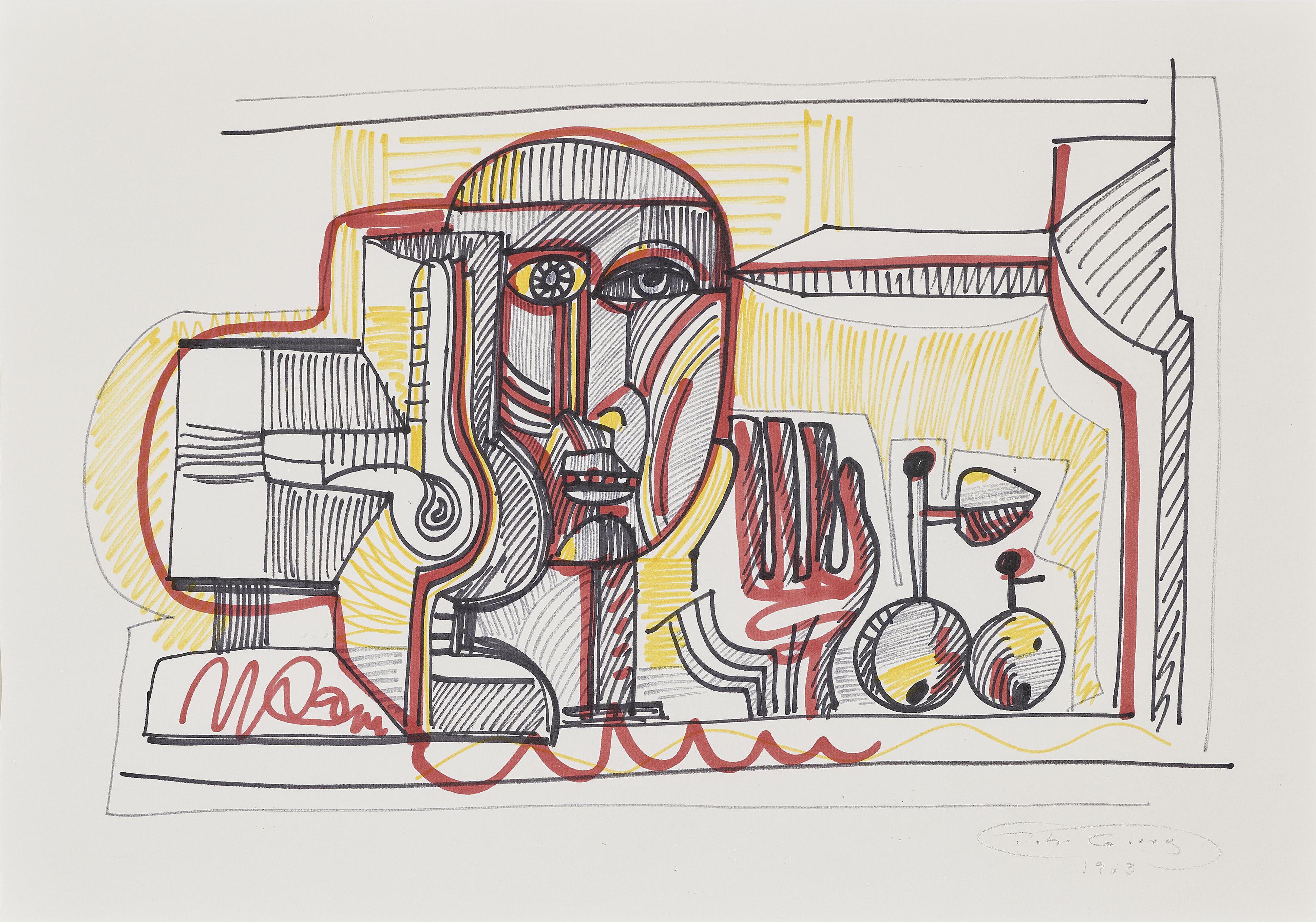 Johann Georg Muller-Ohne Titel (Mannerkopf) / Untitled (Mans Head)-1963