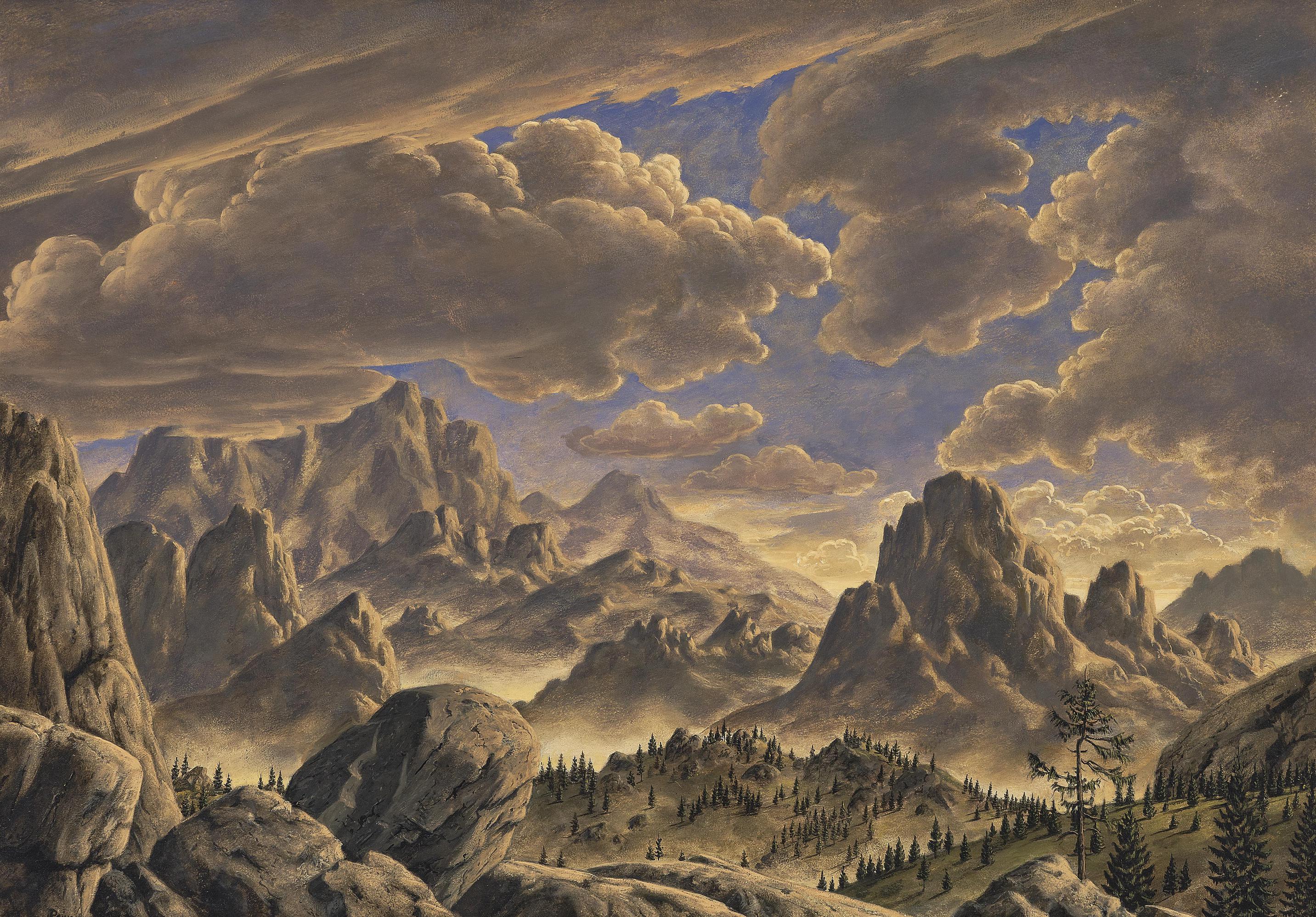 Werner Peiner - Ohne Titel (Gebirgslandschaft); Untitled (Mountain Landscape)-