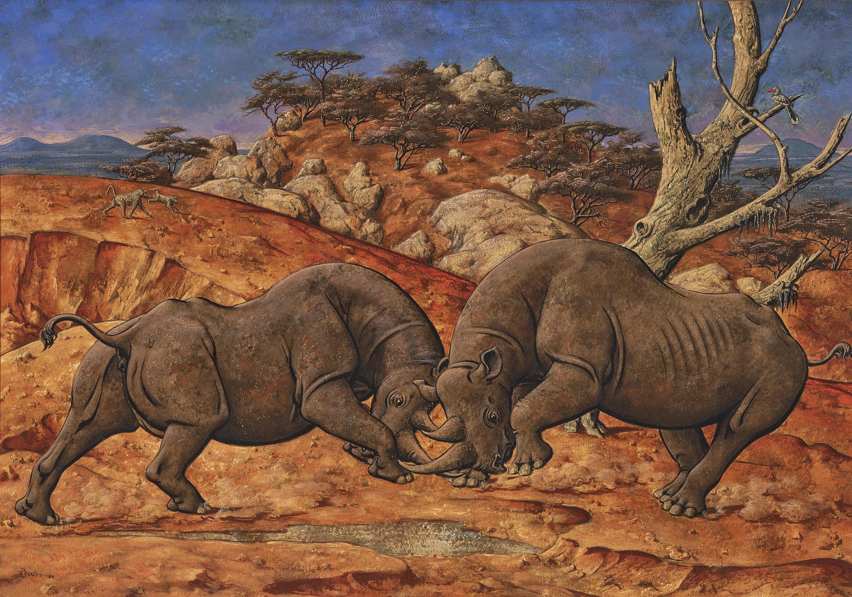 Werner Peiner - Ohne Titel (Landschaft Mit Kampfenden Nashornern); Untitled (Landscape with Fighting Rhinos)-1964