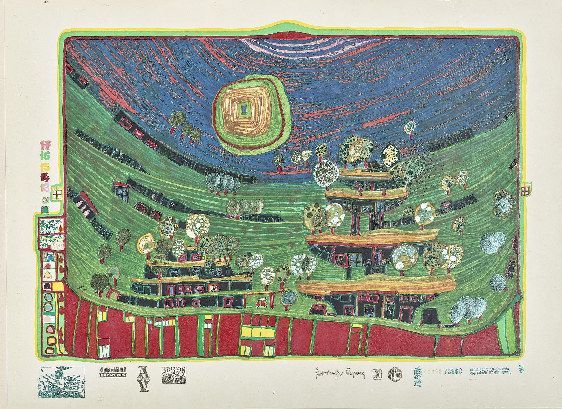 Friedensreich Hundertwasser-Die Hauser Hangen Unter Den Wiesen (The Houses are Hanging Underneath the Meadows)-1971