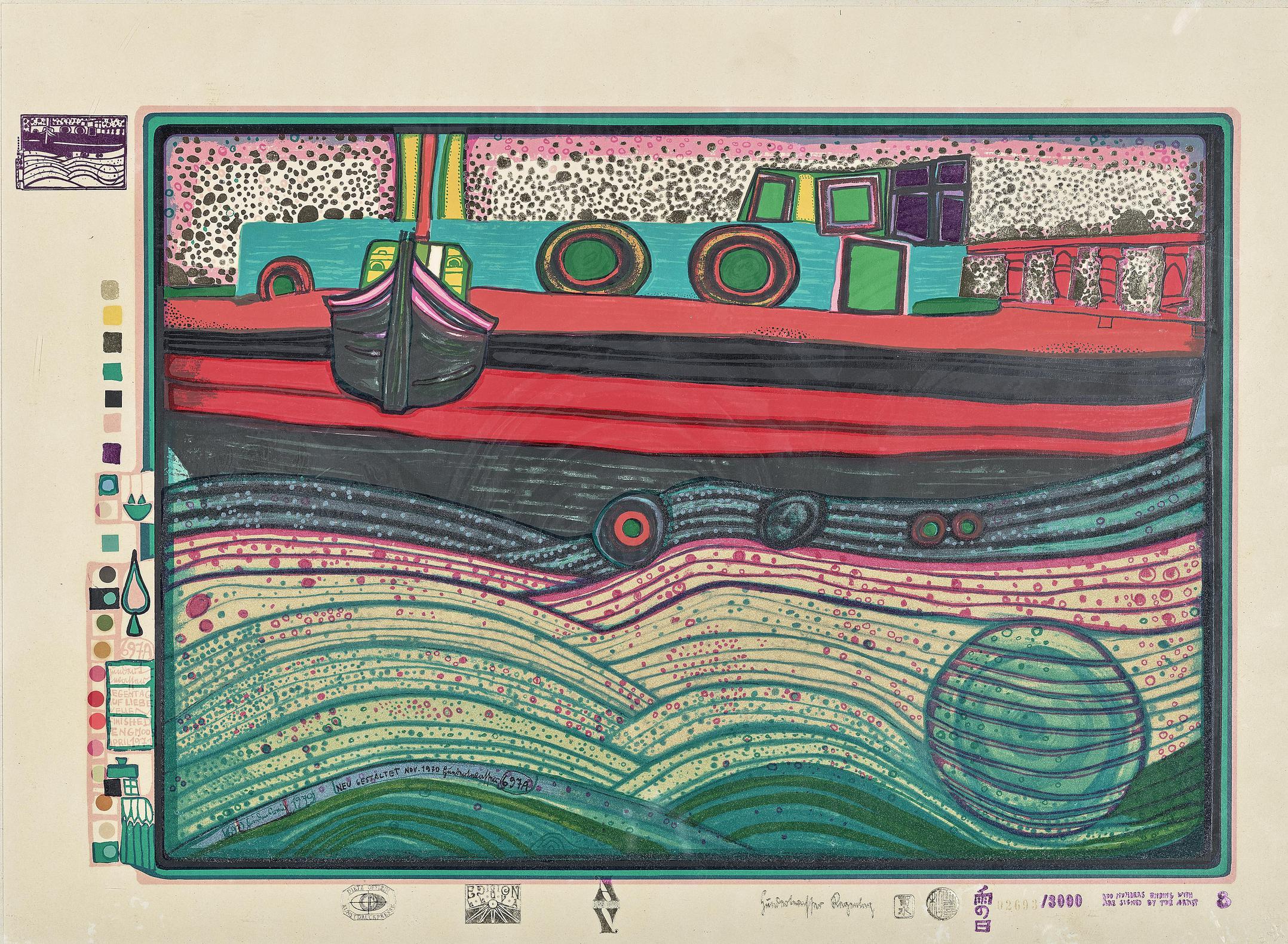Friedensreich Hundertwasser-Regentag Auf Liebe Wellen (Regentag on Waves of love)-1971