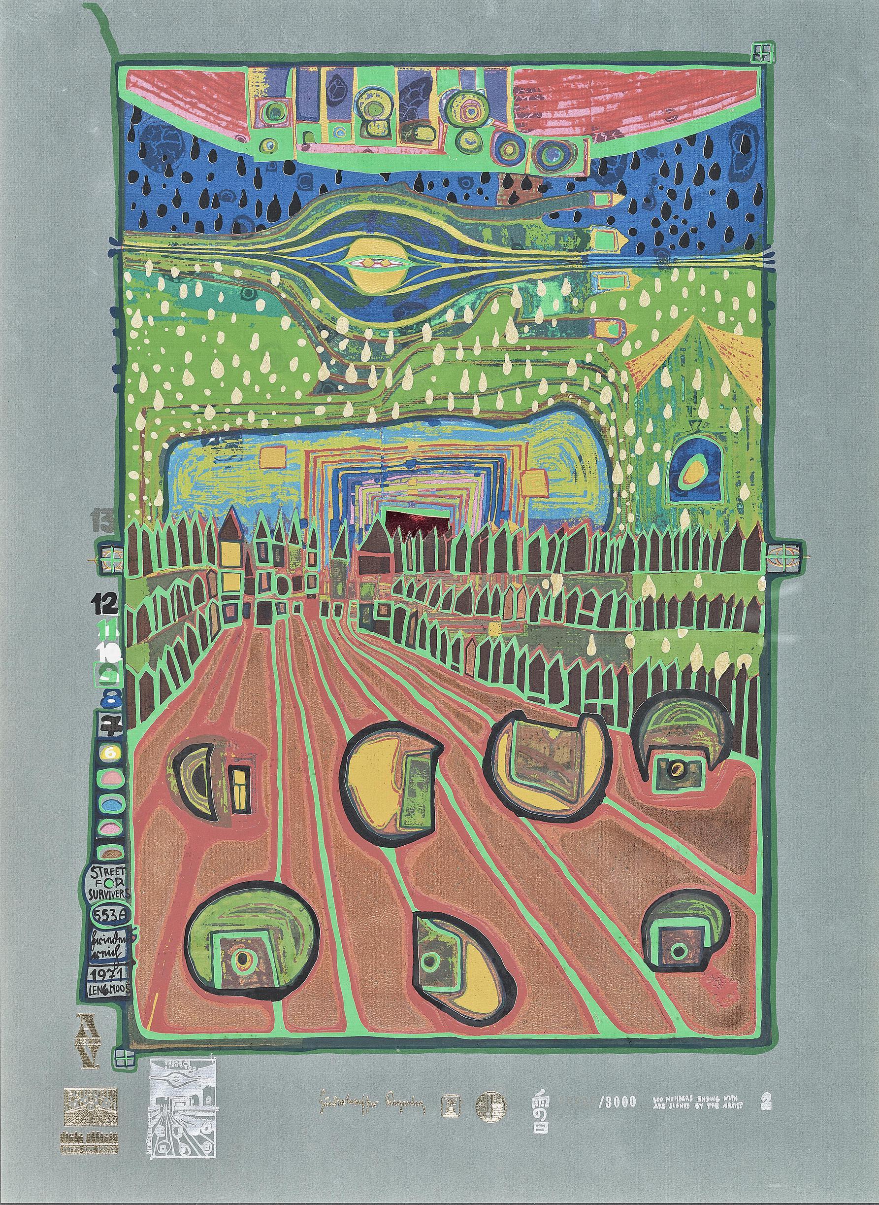 Friedensreich Hundertwasser-Strasse Der Uberlebenden (Street for Survivors)-1971