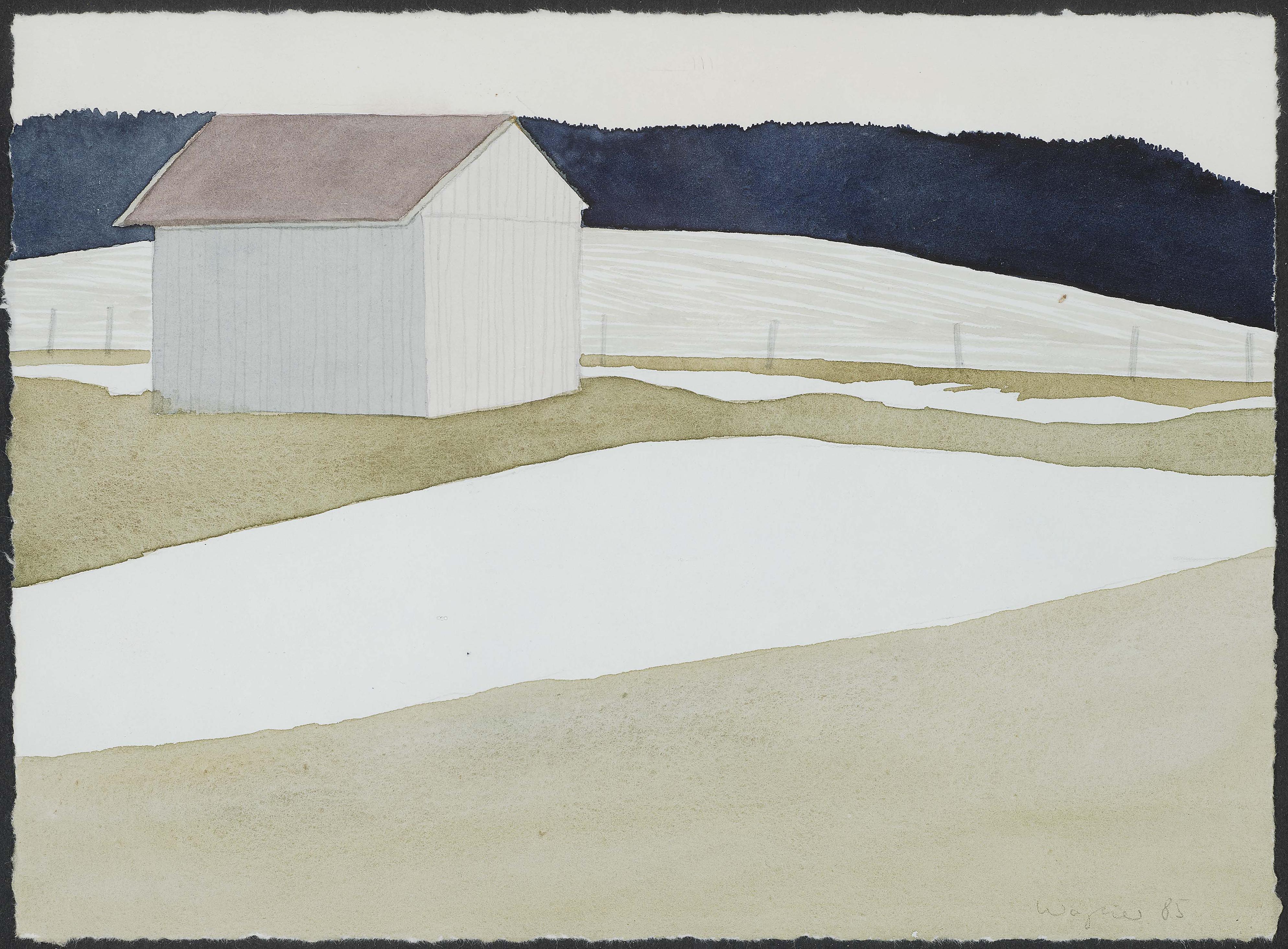 Reiner Wagner - Winterliche Landschaft Mit Scheune (Winter Landscape with Barn)-1985