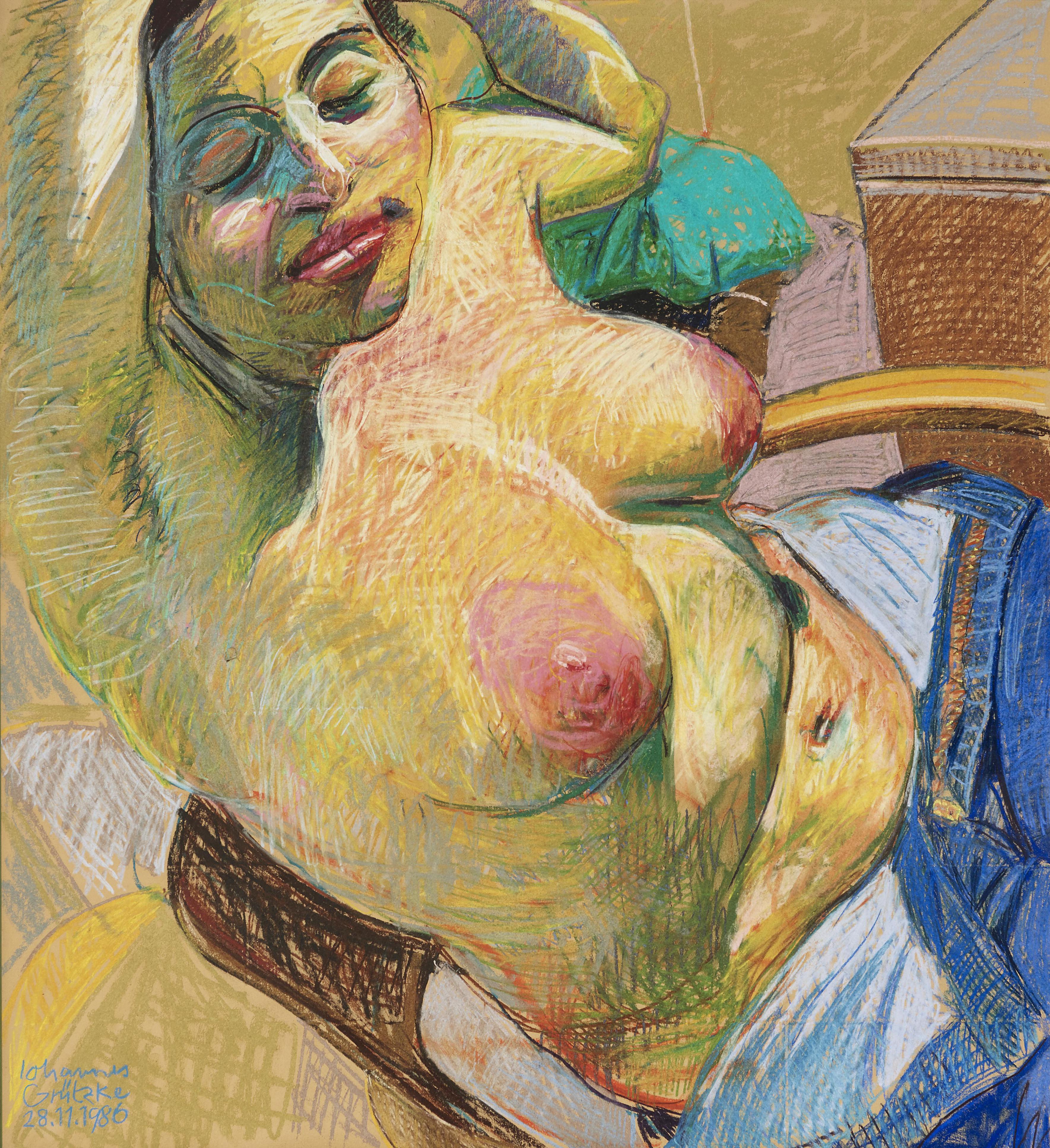 Johannes Grutzke - Schlafender Weiblicher Halbakt (Semi-nude Sleeping Female)-1986