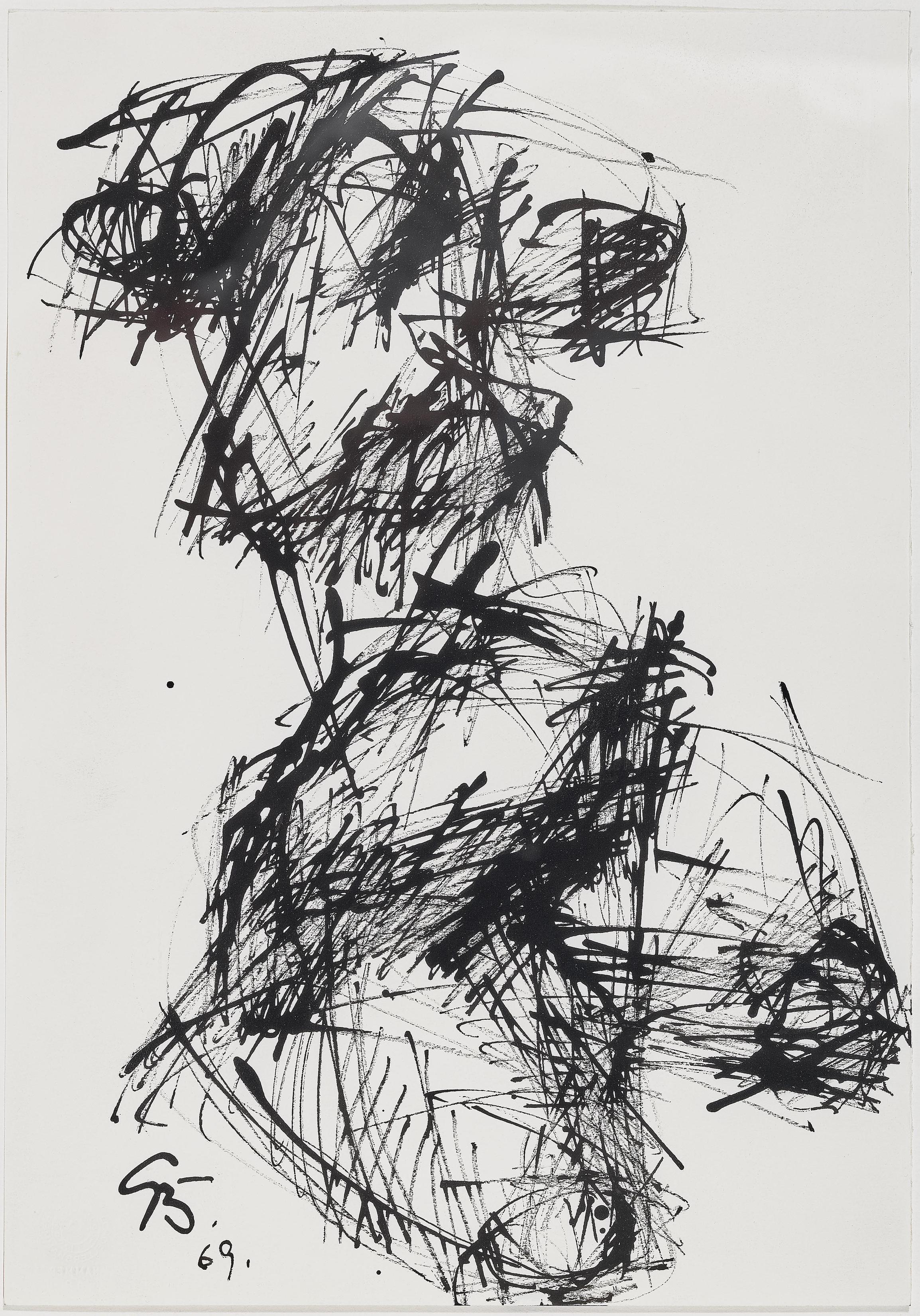 Curt Beckmann - Kniender Weiblicher Akt (Kneeling female nude)-1969