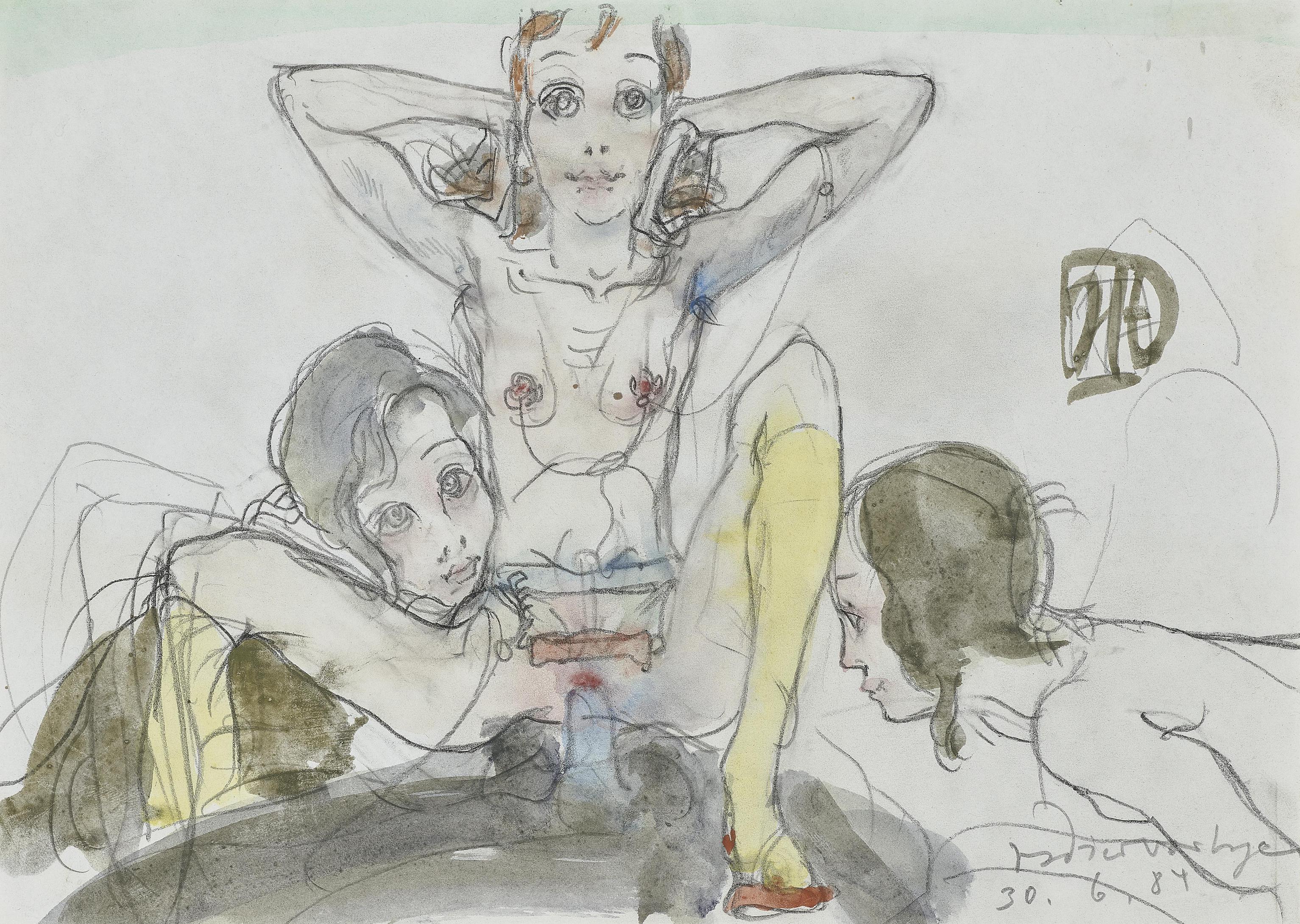 Horst Janssen-Ohne Titel (Dir Birgit Susses Brillenmadchen) / Untitled (For You, Birgit, Cute Glasses Girl)-1984