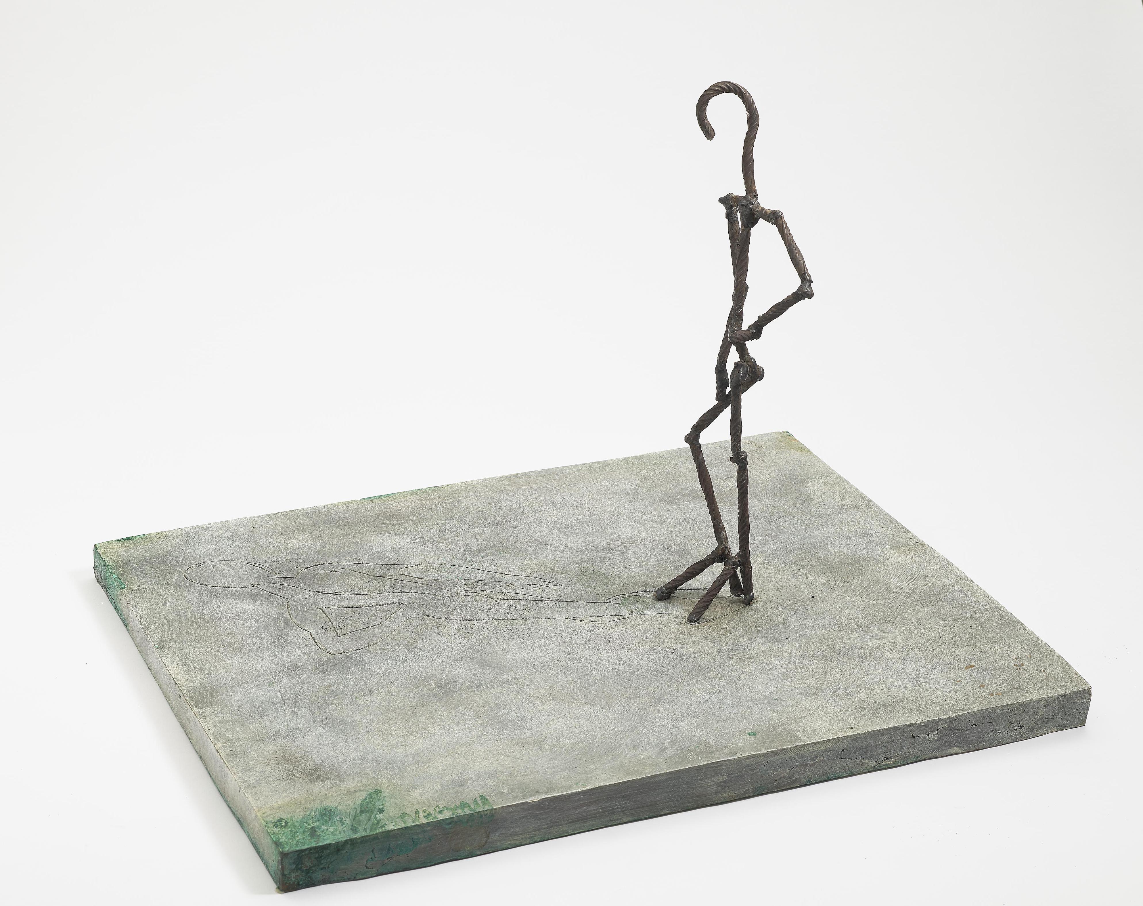 Frank Dornseif - Kleiner Stehender Mit Schatten (Small Standing Figure with Shadow)-1989
