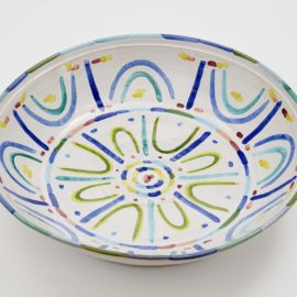 Piero Dorazio-Grosse Schale, Kugelvase Und Kerzenstander (A large bowl)