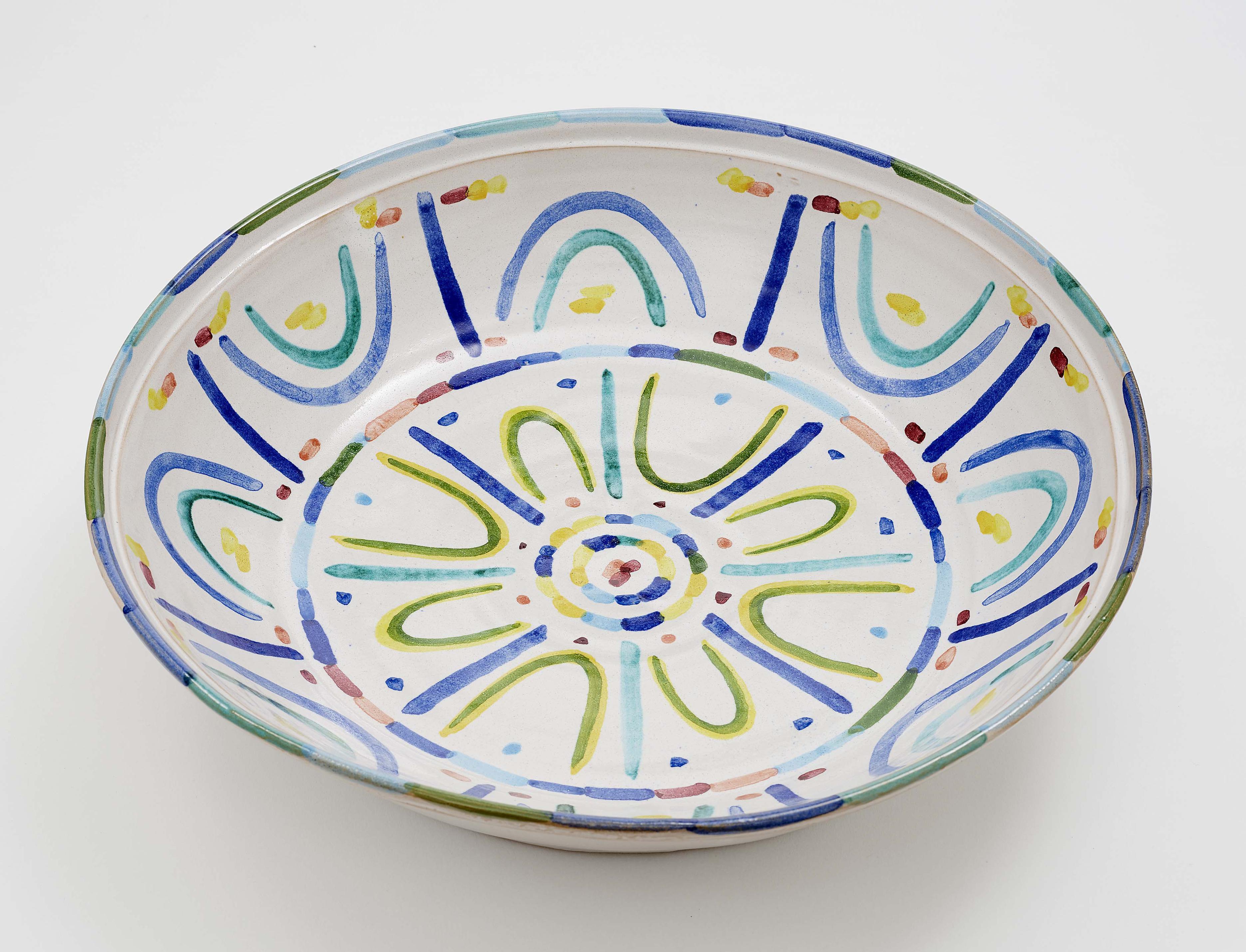 Piero Dorazio-Grosse Schale, Kugelvase Und Kerzenstander (A large bowl)-