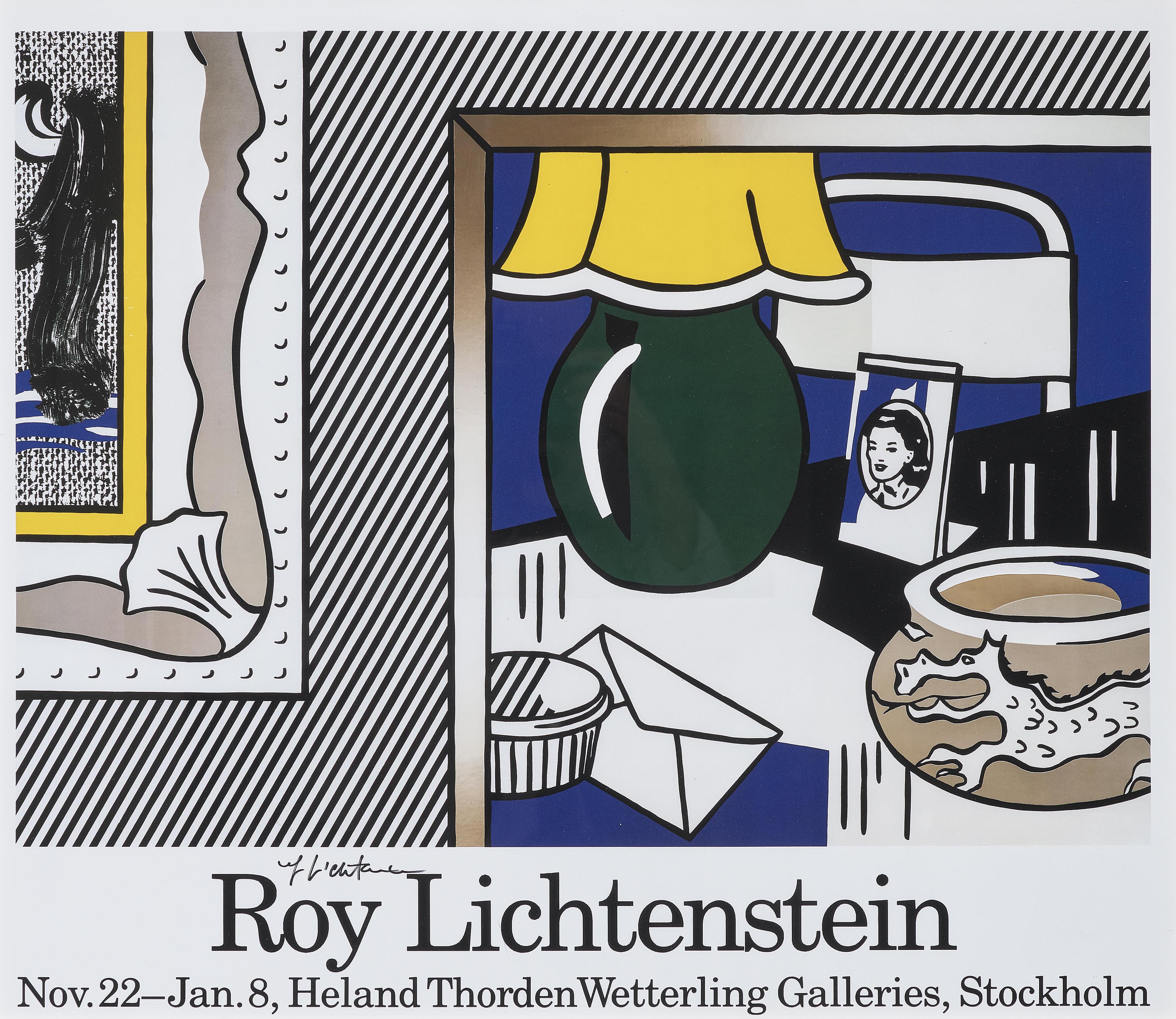 Roy Lichtenstein-Austellungsplakat (Exhibition poster) Two Paintings: Green Lamp-1986