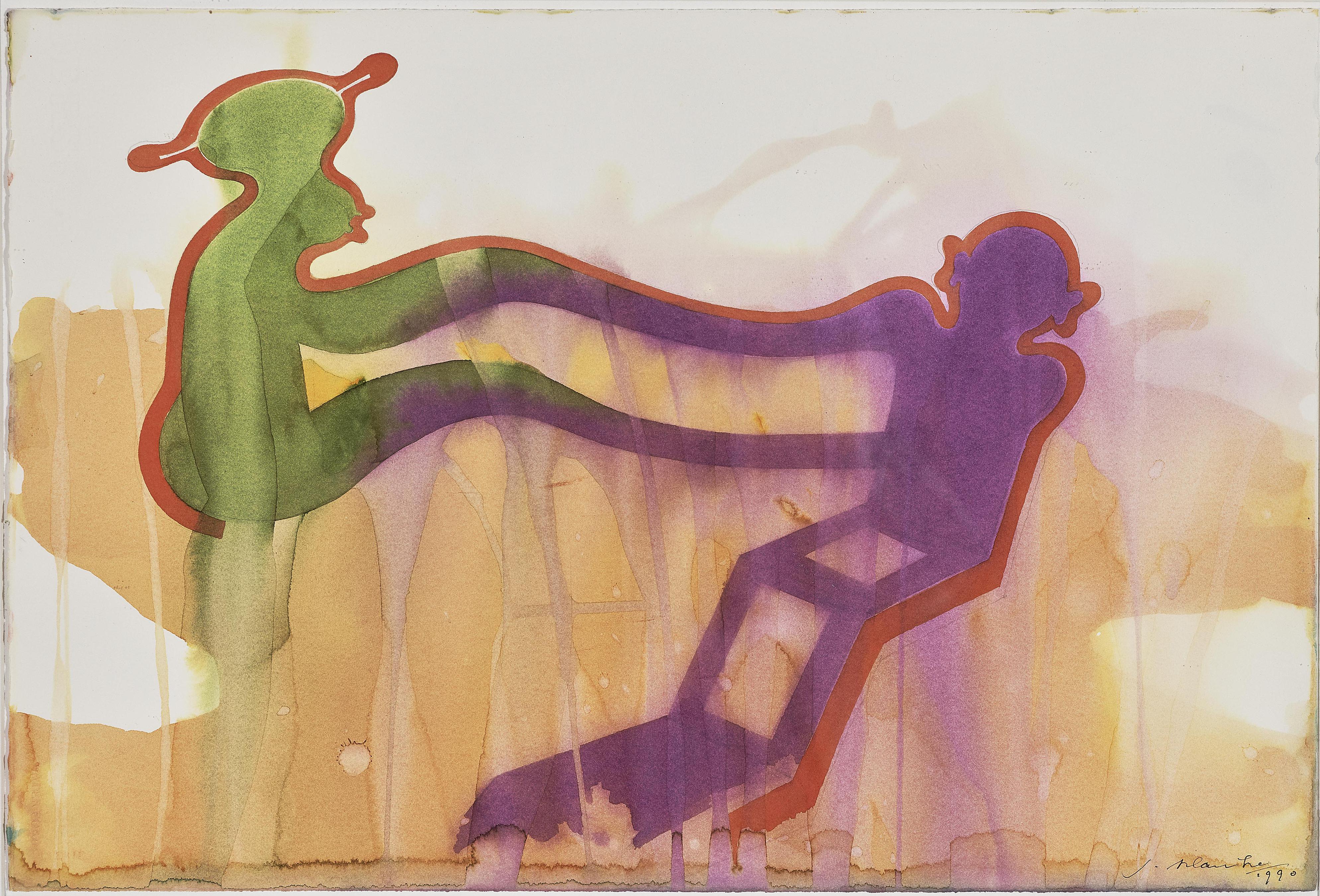 Jurgen Klauke-3 Aquarelle Aus Dem Zyklus Stephen Hero: Zwiegesprach I. Zwiegesprach II. Ohne Titel (3 watercolours from the Stephan Heros cycle: Dialogue I - Dialogue II - Untitled)-1990