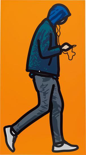 Julian Opie-Man In The Rain With Ipod-2012
